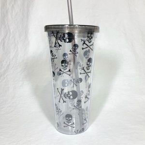 Skull and Crossbones Travel Cup and Reusable Straw